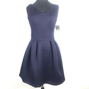 NWT Taylor Navy Blue Quilted Fit & Flare Dress 12